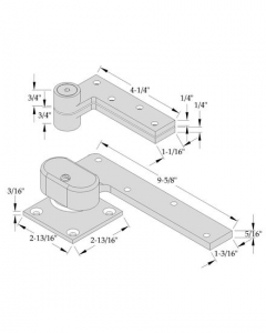 "ABH- Offset Pivot Set, Left Hand, Heavy Duty Needle Bearings, 3/4"" Offset for Max Door Weight 600lbs"