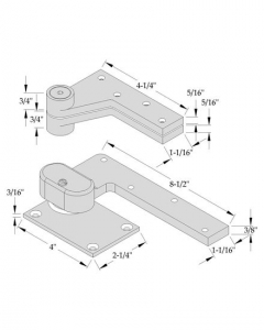 "ABH- Offset Pivot Set, Right Hand, Heavy Duty Needle Bearings, 1-1/2"" Offset for Max Door Weight 350lbs"