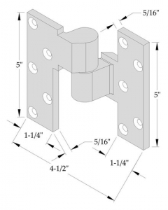 "ABH- Intermediate Pivots Left Hand, Heavy Duty Needle Bearings, 3/4"" Offset for Lead-Lined Doors"